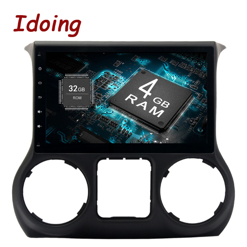 Idoing 1Din 10.2 For Jeep Wrangler2015/2016 Android 8.0 8 Core 4GB+32GB Steering Wheel Car GPS Player GPS Navigation Fast Boot
