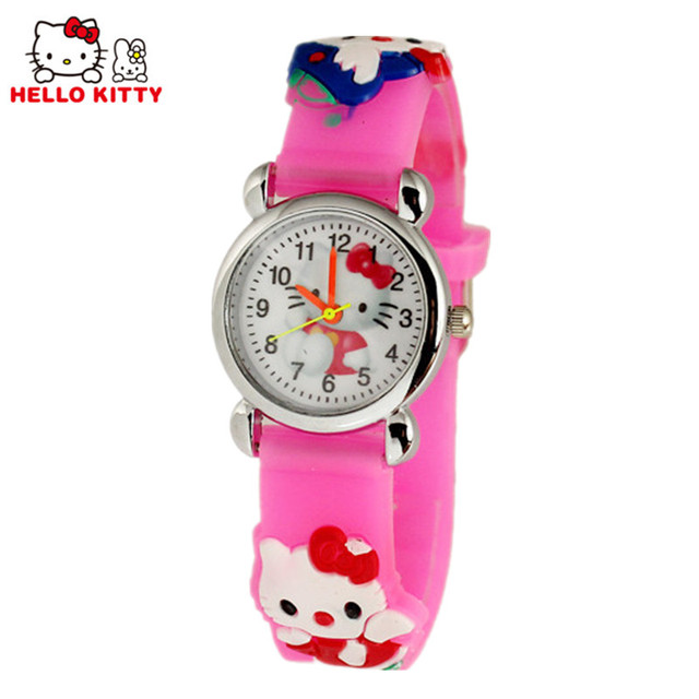 Hot Sale Kids Hello Kitty Watch Silicone Strap Cute Cartoon Children's Watches K
