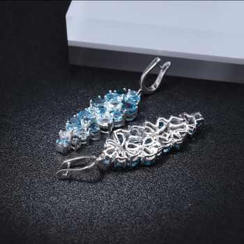 GEM\'S BALLET Natural London Blue Pure Topaz 925 sterling silver Drop Earrings Mix Gemstones Earrings Fashion Jewelry For Women