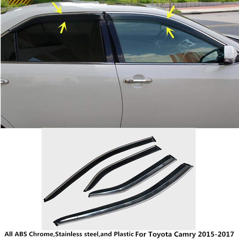 car body styling cover Sticker lamp plastic Window glass Wind Visor Rain/Sun Guard Vent 4PCS For Toyota Camry 2015 2016 2017