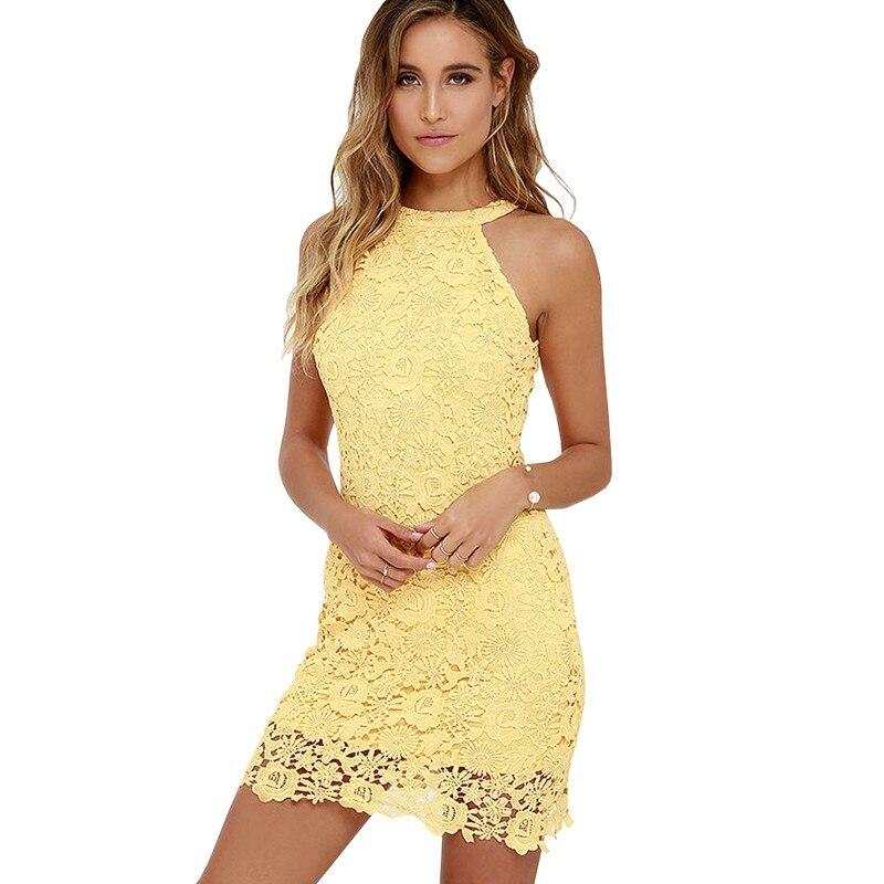 Sexy Club Gelbe Spitze Kleid Halter Crochet Abendgesellschaft Vestido De Festa Bodycon Frauen Weiß Sommerkleider 2017 Plus Größe Robe
