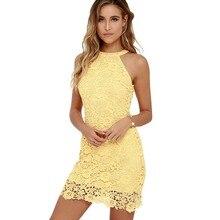 Sexy Club Yellow Lace Dress Halter Crochet Evening Party Vestido De Festa Bodycon Women White Summer Dresses 2017 Plus Size Robe