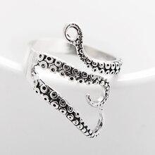 Black Titanium Men Ring Vintage Octopus Sea Monster Steel Anel Mood Opened Adjustable Rings 2017 Punk Men Jewelry