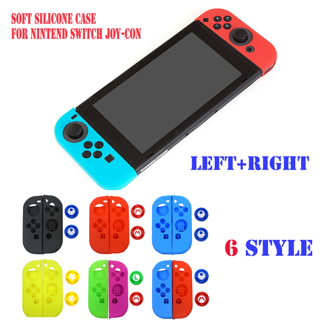 Dustproof Soft Silicone Protective Case Skin Cover for Nintend Switch NS Joy-Con Case&2 Analog Thumbstick Grips Joystick Caps