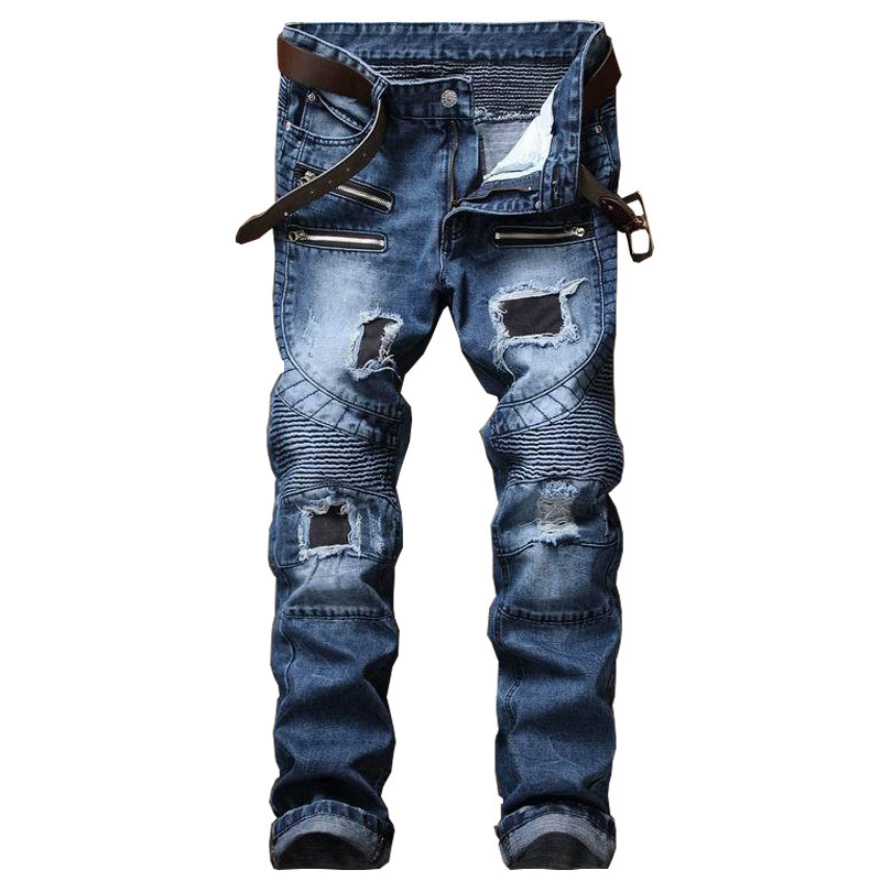 Newsosoo Brand Designer Man Ripped Biker Jeans Pants Fashion Slim Fit Patch Moto Denim Trousers For Male Multi Zipper Patchwork 2017 fashion patch jeans men slim straight denim jeans ripped trousers new famous brand biker jeans logo mens zipper jeans 604