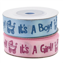 1 Roll 10Yards It is a Boy Girl Printed Ribbon Baby Shower Christening Satin Gift Packing DIY Crafts Christmas Ribbons