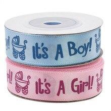 Cinta para Baby Shower, 1 rollo de 10 yardas, impresa para niño y niña, cinta de satén para bautizo, regalo, embalaje artesanal, cintas de Navidad