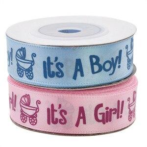 Image 1 - Ruban imprimé, 1 rouleau, 10Yards, il est un garçon et une fille, ruban en Satin pour fête prénatale, emballage cadeau, artisanat, rubans de noël, bricolage