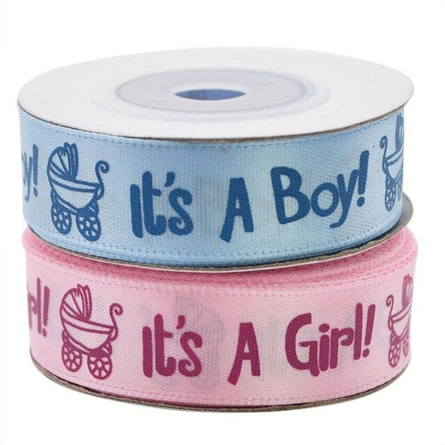 Ruban imprimé, 1 rouleau, 10Yards, il est un garçon et une fille, ruban en Satin pour fête prénatale, emballage cadeau, artisanat, rubans de noël, bricolage