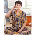 New Spring Summer Men`s Polyester Pajamas Sets Loose Comfortable Short Sleeved Sleepwear Leisure Wear