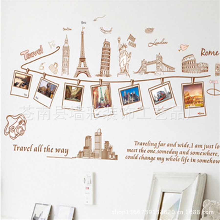 diy home decor wall sticker travel memory photo frame wall sticker for living room office decor home gift - Travel Home Decor