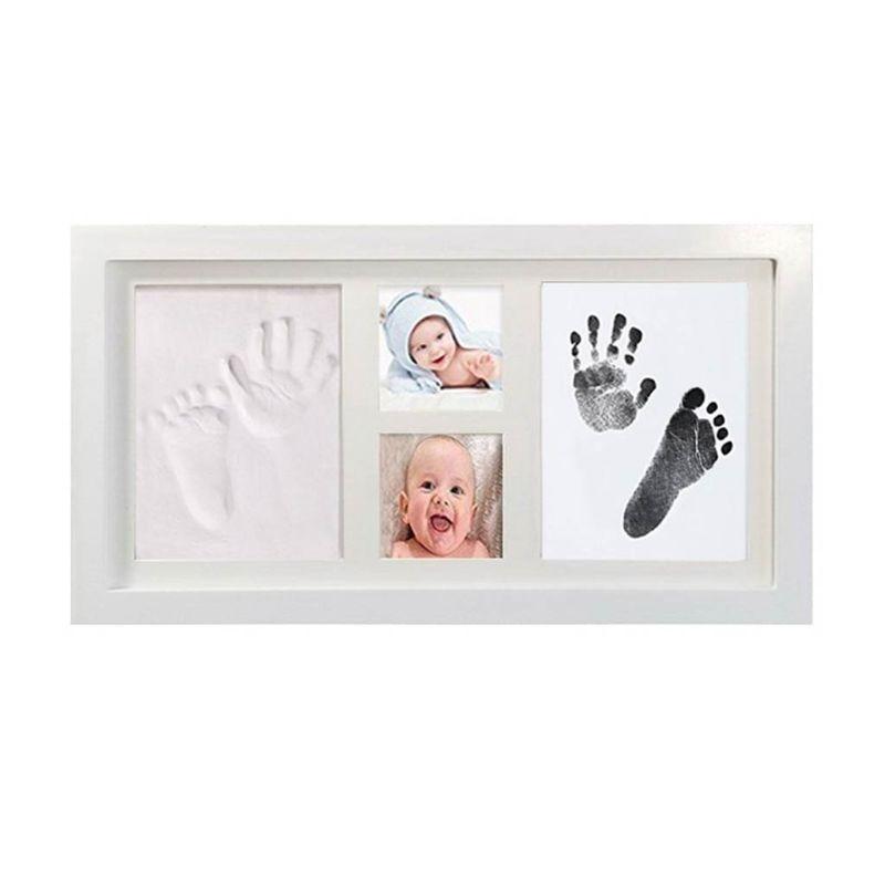 Baby Children Kid Foot Hand Finger Wood Photo Frame Set Print Clay Ink Kit Gift Memory