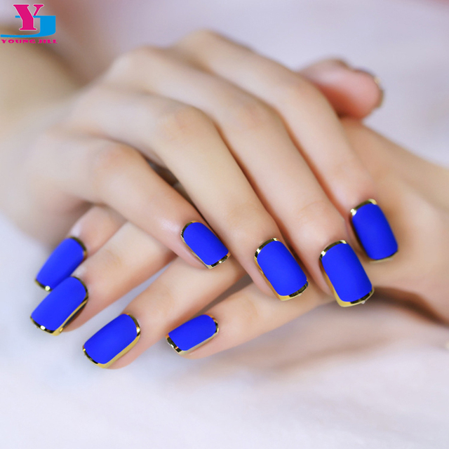 2016 New Royal Blue Matte Artificial Nail Tips Metallic Side Gold ...