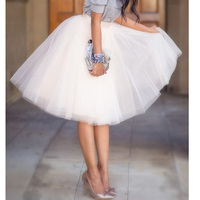 5 Layers 65cm Long Skirts Womens Adult Tutu Tulle Skirt American Apparel Bridesmaids Gown Saias Femininas