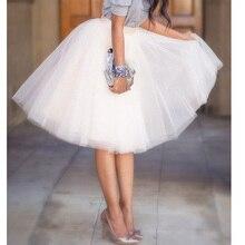 5 Capas 65 cm Faldas Largas Para Mujer Adultos Tutu Falda de Tul Ropa Americana de Damas de Honor Vestido Saias Femininas BSQ002