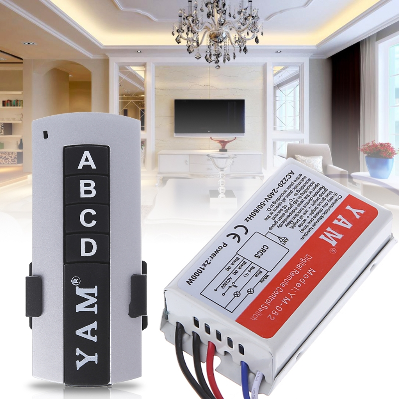 3 Way ON/OFF 220V Wireless Remote Control Switch Digital Receiver Lamp