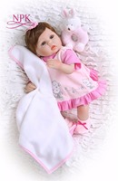 Bebes reborn pretty girl doll 1840cm NPK silicone reborn baby doll with rattle pacifier bottle toy dolls for child