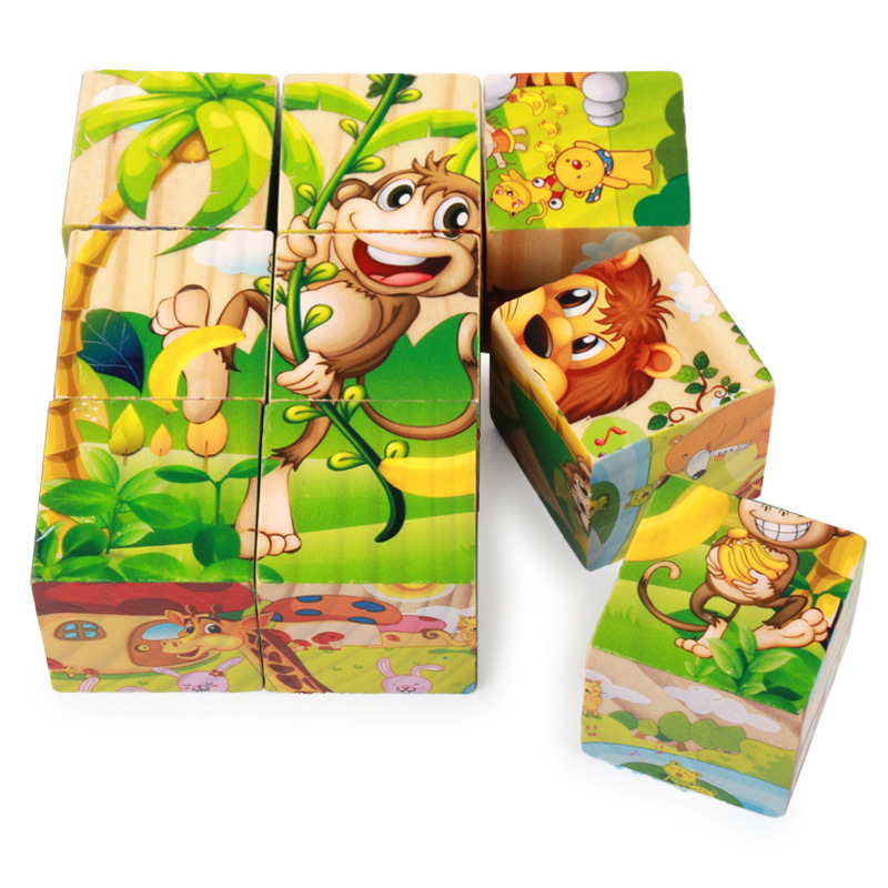 9pcs/set Cartoon 6 Sides Painting 3D Cube Puzzle Wooden Jigsaw Animal Fruit Traffic Early Education Learning Toys For Children