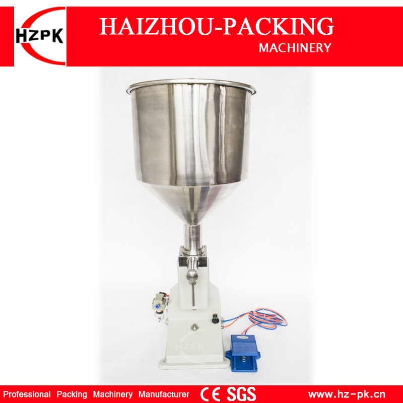 HZPK A02 Manual Filling Machine Paste By Air Pressure Liquid Filling Machine Cream Food Processing With 10L Hopper Small 5-50ml a02 manual filling machine pneumatic pedal filling machine 5 50ml small dose paste and liquid filling machine piston filler