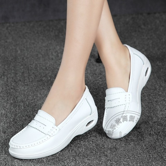 Air Cushion Promotion Plain Solid Color China Shoes Garden Pu Slip On Shoes For Women Shoes Woman White Soft Leather Sewing