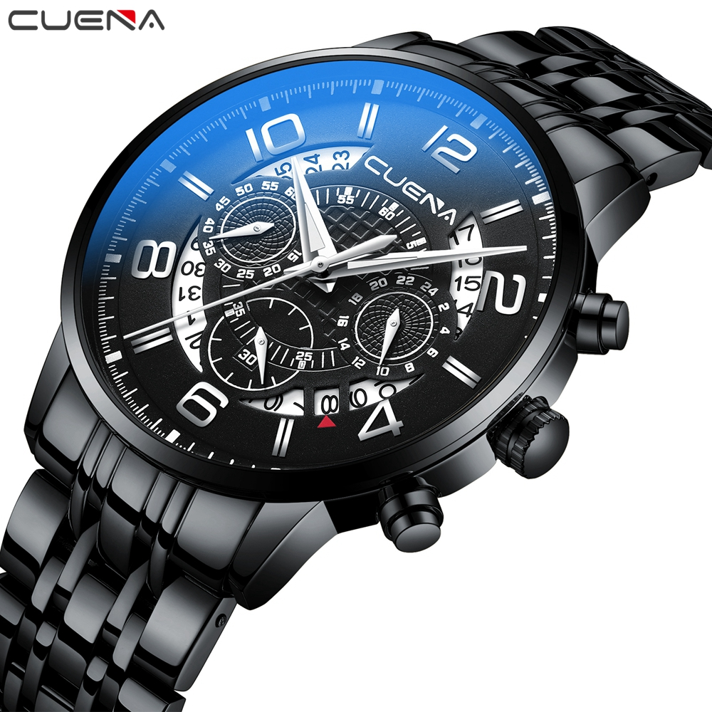 CUENA Mens Wristwatch Quartz Watches Men Luxury Brand Waterproof Stainless Steel Watch Montre Homme Male Clock Relogio Masculino mens stainless steel band watch with big round dial male analog quartz metal sports wristwatch relogio masculino montre homme