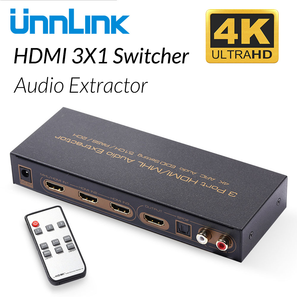 Unnlink HDMI Switch 3x1 UHD 4K@30Hz 3 In 1 Out Audio Extractor HIFI 5.1 SPDIF Toslink Optical 2RCA ARC for TV Stick Chromecast