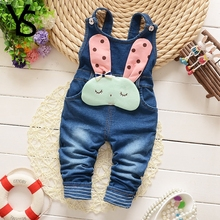 6M-4T Baby Girls Denim Overalls Infant Toddler Kids Jeans Rompers Rabbit Jumpsuit huarache all for children Clothes