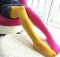 New Fashion Women's Sexy Spring Summer Velvet AB Patchwork Tights Cute Candy Color Elastic Quality Pantyhose Hot Sell(LKW7)