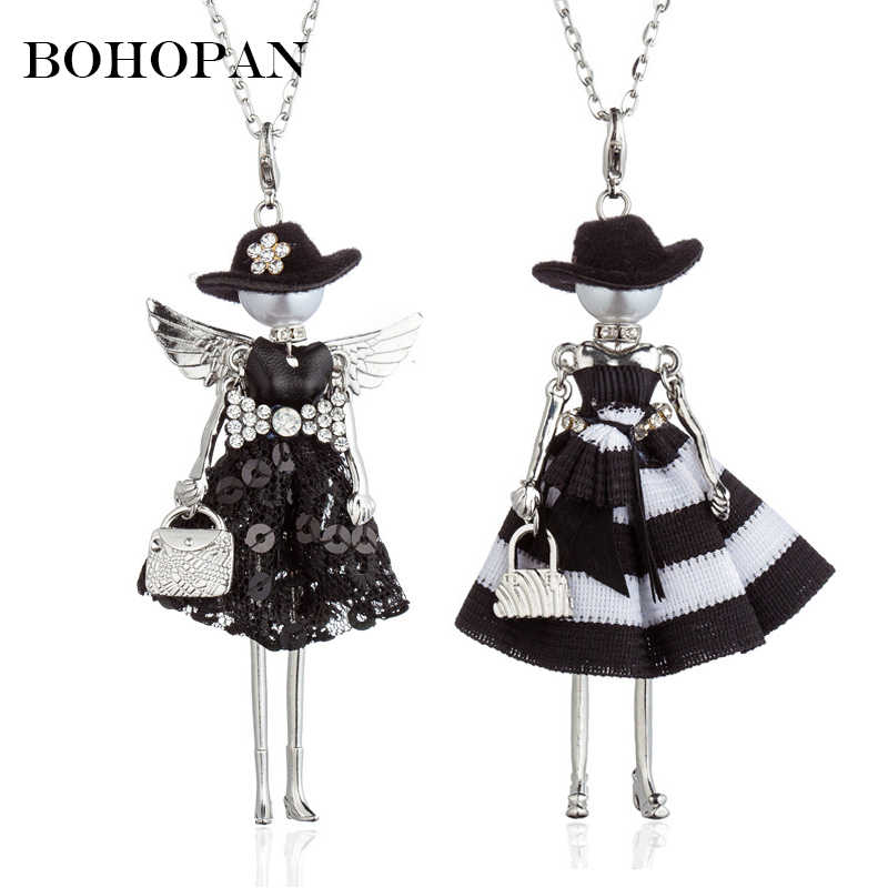 Hot Sale Black Hat Doll Necklaces Silver Wing Sequin Stripe Dress Alloy Necklace Women Best Friends Pendant Cloth Accessories