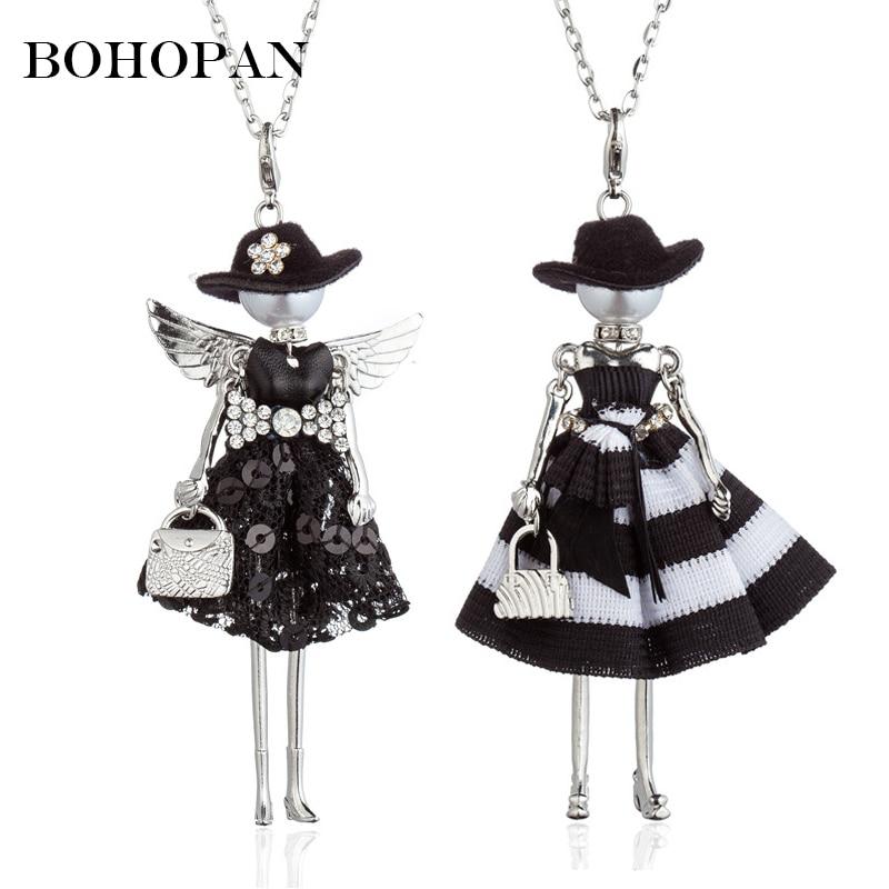 Hot Sale Black Hat Doll Necklaces Silver Wing Sequin Stripe Dress Alloy Necklace Women Best Friends Pendant Cloth Accessories