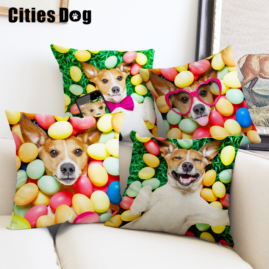 Pillows Cushion Covers 2018 New Year Decoration Gift Animal Jack Russell Terrier Dog Pillowcase Christmas Colorful Colored Eggs