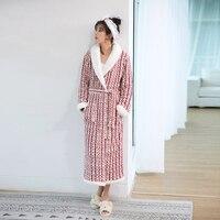 Lovers Plus Size Winter Flannel robe extra Long Warm Bathrobe Men Women Thick Winter Kimono Bath Robes Male Dressing Gown Robes
