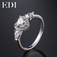 EDI Three Stone Heart Shape 6mm Moissanites Diamond 14k White Gold Engagement Ring For Women Wedding