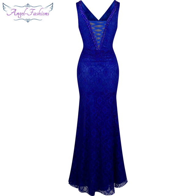 Angel-fashions Formal Party V Neck Beading See Through Lace Evening Dress robe de soiree 232