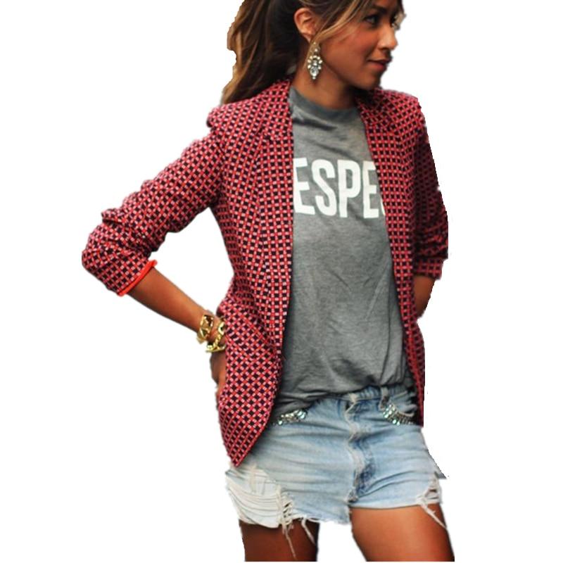 2018 Fashion Autumn Women Thin Blazers Casual Office Ladies Red Plaid Long Sleeve Lapel Blazer Jackets Vintage Female Coats