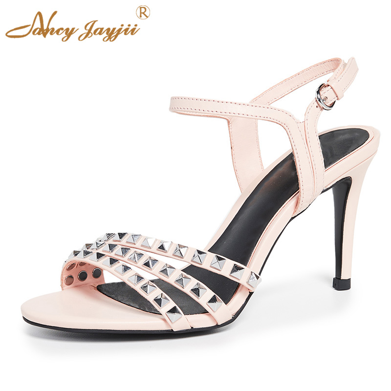 Pink Rivet Sandals Stilettos with 4 Inch Thin High Heels Black Bottom Ankle Buckle Strap Round Toe Women Shoes 2019 Summer