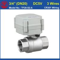 3 Wires DC5V 2 Way Motorized Valve BSP NPT 3 4 Full Port SS304 Valve For