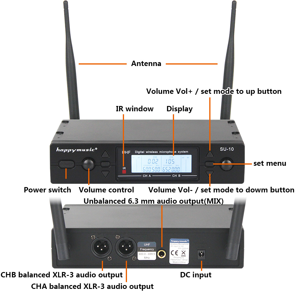 Image 2 - New High Quality UHF Professional SU 10 Dual Wireless Microphone System stage performances a two wireless microphone-in Microphones from Consumer Electronics