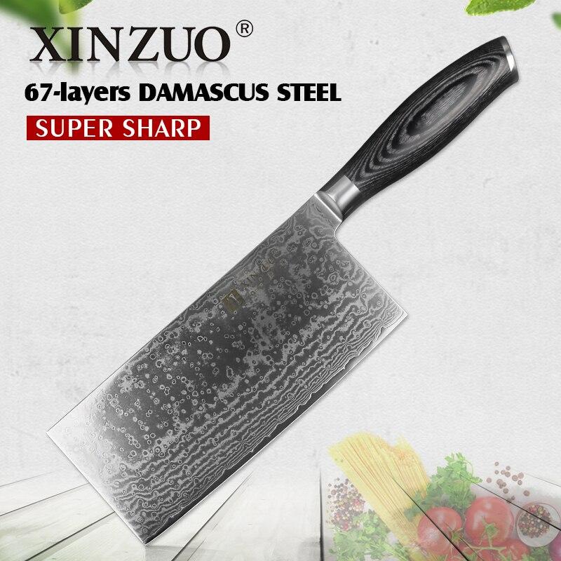 XINZUO 7 ''Couteau À Trancher VG10 Damas En Acier Inoxydable Chine Chef de Cuisine Couteaux avec Manche En Bois Pakka Couperet Que Boucher couteau