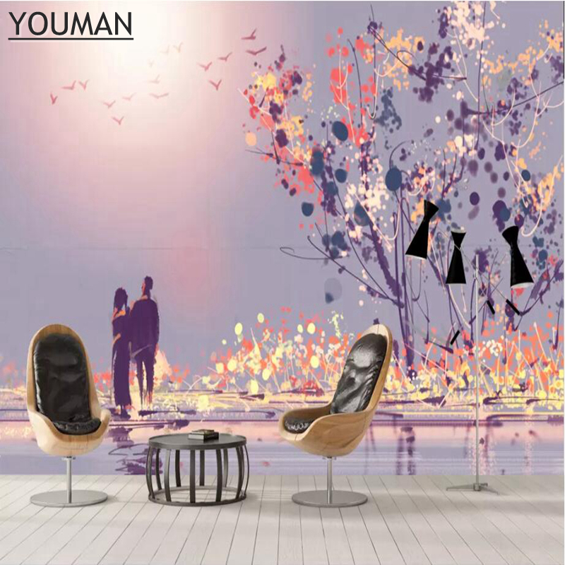 3 d Modern Custom Photo Wallpaper In Wall Papers Large Wall Mural Living Room Bedroom Decor Romantic Sunset Purple Wallpaper