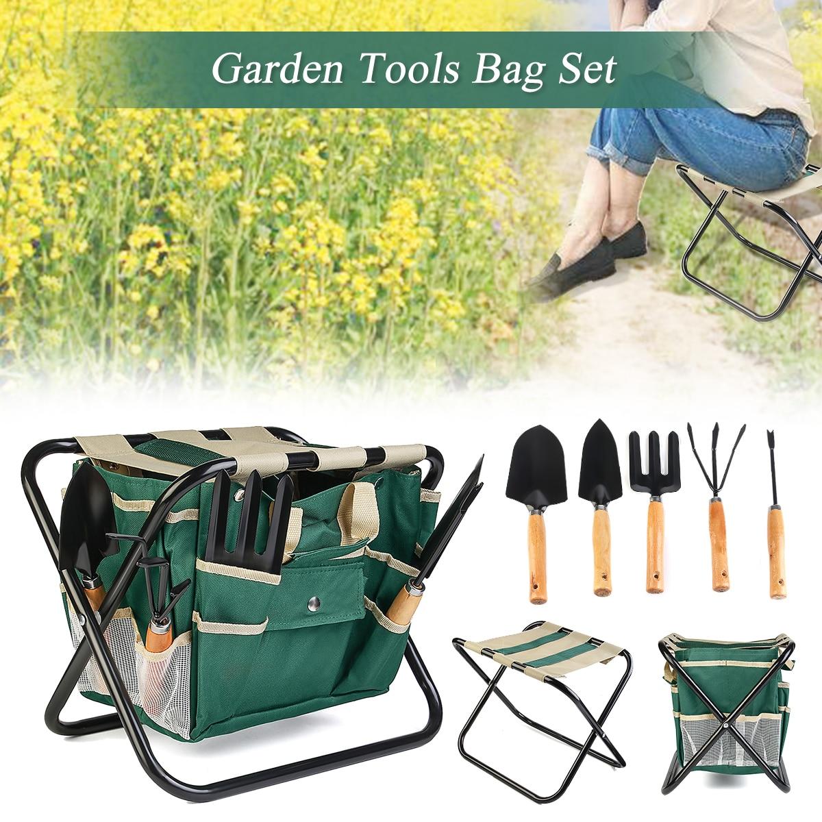 7Pcs Folding Stool Chair Yard Gardening Tool Kit Heavy Duty Garden Tools Bag Set Stainless Steel Lightweight 600D Oxford Fabric цена