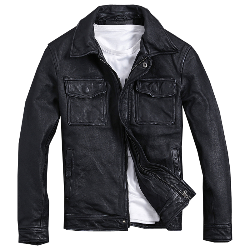 2019 Vintage Black Men Smart Casual Leather Jacket Plus Size XXXXXL Double Pockets Genuine Cowhide Leather Coat FREE SHIPPING(China)
