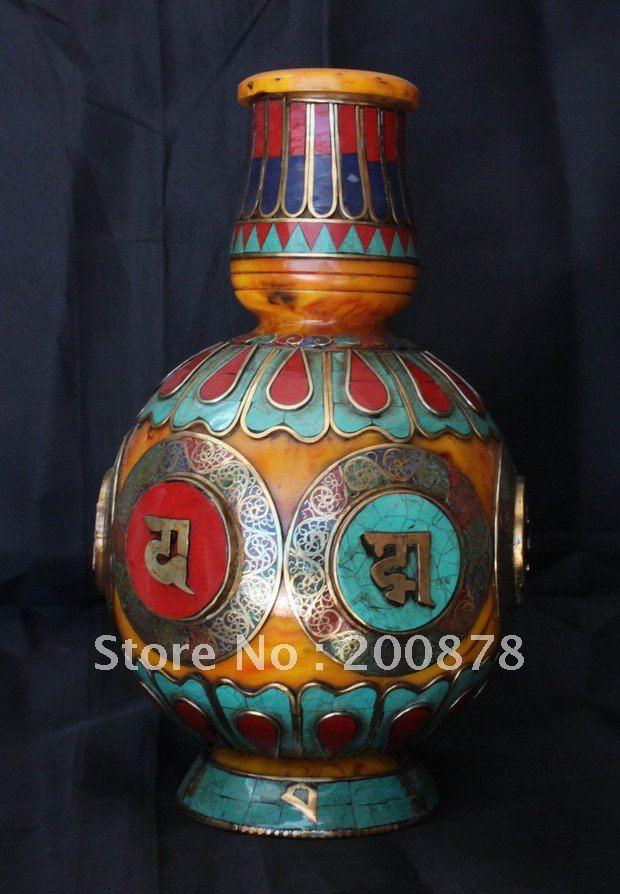 HDC0671 Népal Tibétain décor arts, Cire D'abeille vase, laiton turquoise corail vase, Tibet collectibles, 18 cm