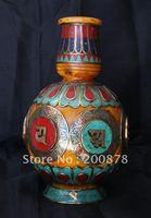 HDC0671 Nepal Tibetan decor arts,Beeswax vase,brass turquoise coral vase,Tibet collectibles,18cm
