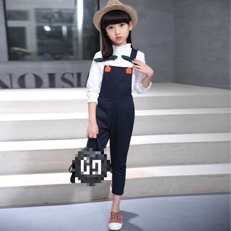 4 5 6 7 8 9 10 11 12 Years Clothes Set For Girls 2018 Spring Long Sleeve White Shirt + Overalls 2pcs Children Clothing 4 5 6 7 8 9 10 11 12 13 years girls school uniform autumn clothes set kids teens long sleeve shirt pant 2pcs children clothing