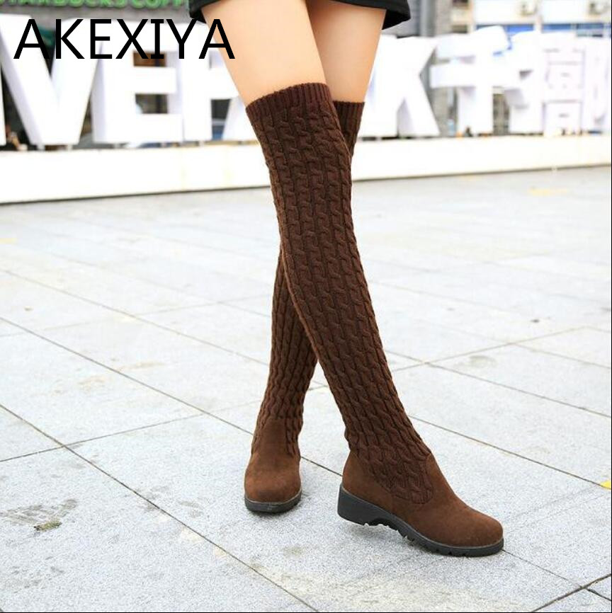 Hot 2016 Fashion Knitted Above Knee Women High Boots Elastic Slim Autumn Winter Warm Long Thigh Woman Shoes