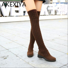 Hot 2016 Fashion Knitted Above Knee Women Knee High Boots Elastic Slim Autumn Winter Warm Long
