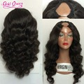 De alta densidad de la peluca para las mujeres negras u pelo humano virginal Brasileño parte peluca 180% densidad de la onda profunda peluca de cabello humano libre gratis