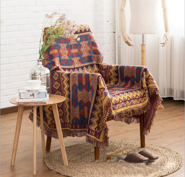 Multifunction Kilim Blanket Tassel Carpet For Sofa Living Room