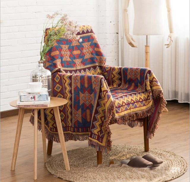 Multifunction Kilim Blanket Tassel Carpet For Sofa Living Room